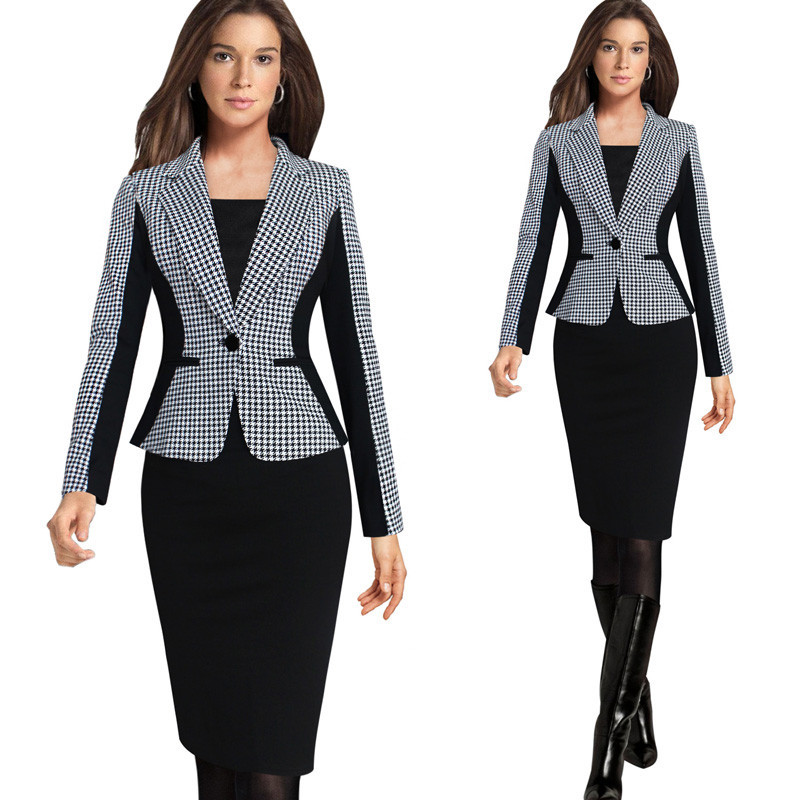2018 New Arrival Women Long Sleeve Notched Style Blazer Suits Kontor Casual Plaid Farge Klær Kvinne Blazer Single Breasted