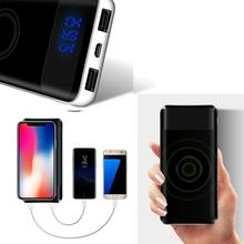 10000mAh Portable Power Bank LCD Display Dual USB Ports Wireless Charger Mobile Power Bank External Battery Charge For iPhone