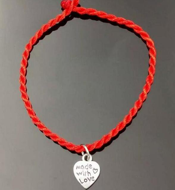 20 Pc Fashion Kabbalah Made With Love Heart Lucky Red String Bracelet Bangles Handmade Braided For
