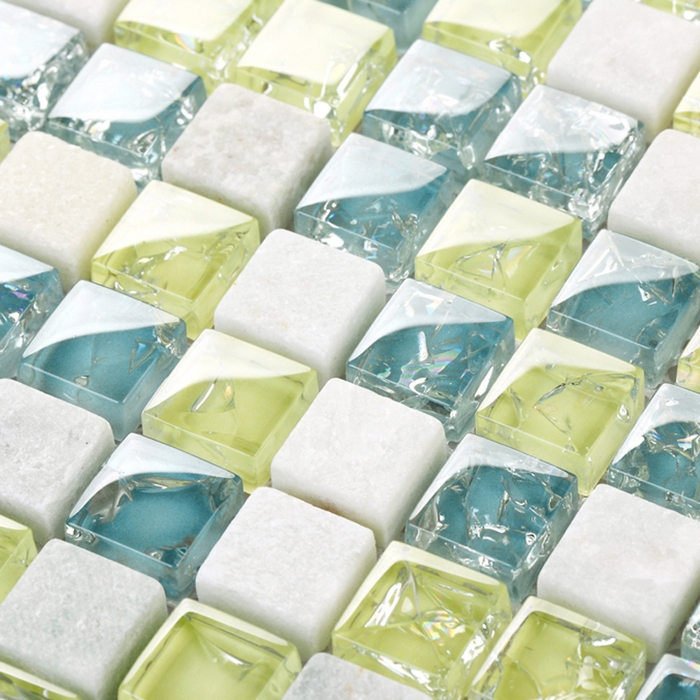 yellow mixed blue color crakle crystal glass mosaic& white