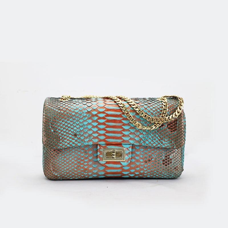 Alta qualidade de luxo genuíno bolsa cadeia de mulheres multicolor couro de cobra python pele senhoras cadeia saco crossbody