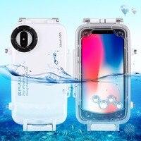 מקרה צלילה PULUZ עבור iPhone X 40 m/130ft תמונה לקיחת וידאו תת שיכון כיסוי מקרה שיכון צלילה עמיד למים עמיד הלם