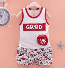 Baby Boys Letter Vest Tracksuits 2019 Summer Children Clothing Set Kids Clothes for Boy 1 2 3 4 Years Old Child Suits QHX005