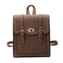 цена на PU leather Janpanese Vintage Backpack for Girls Youth School Bag Satchel with Flap Women New Brown Black Small Travel Rucksacks