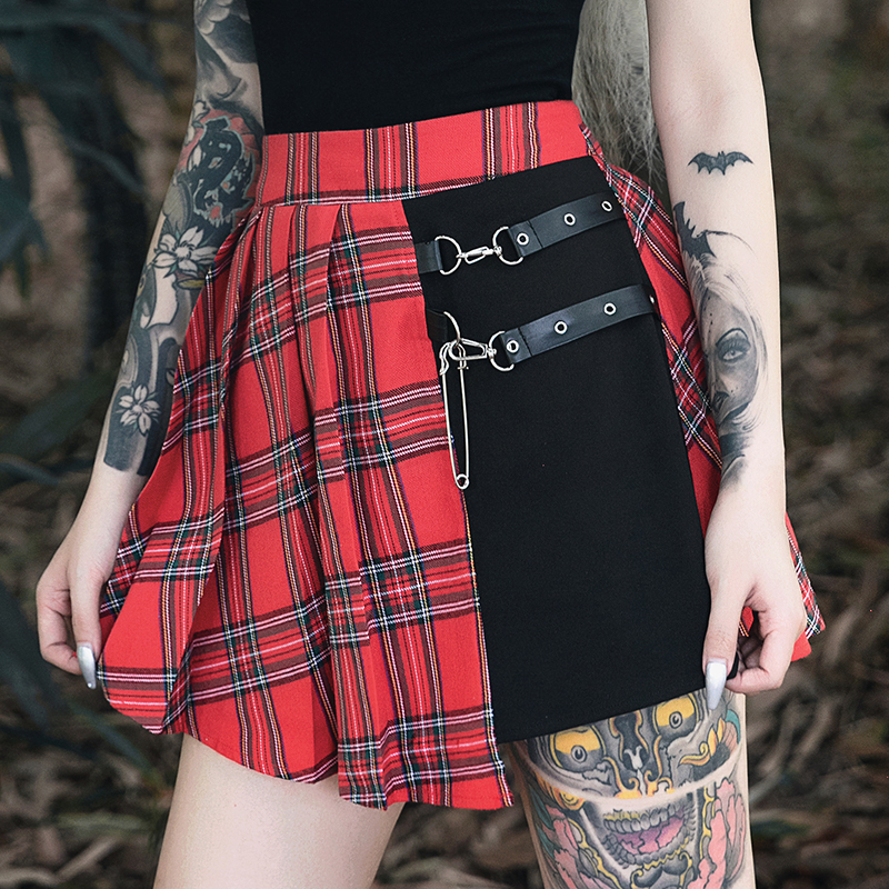 Gothic Punk Skirts Women Red Plaid Pleated Ball Gown High Waist Patchwork Mini Skirt Fashion Streetwear Buckle Female Goth Skirt