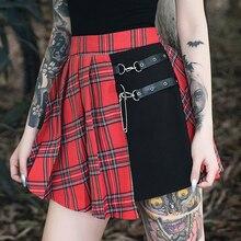 Minifalda gótica Punk para mujer, vestido de baile a cuadros rojos plisado, de cintura alta, de retazos, ropa de calle de moda, falda gótica con hebilla