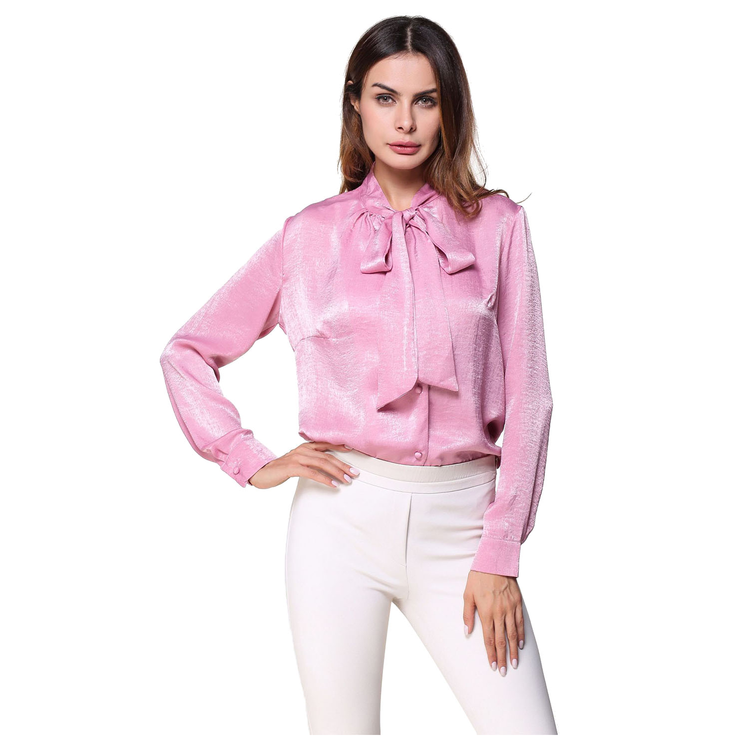 Women's New Casual Long Sleeve Blouse Elegant Long Sleeve Spring Autumn Bow Ties Office Lady Wear Tops Loose Solid Color Shirt