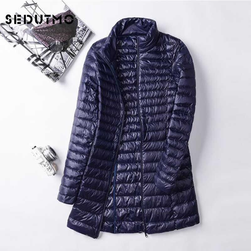 SEDUTMO зима плюс размер 4XL женские куртки ультра легкий пуховик Doat длинный пуховик тонкий Осенние парки ED028
