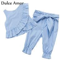 Dulce Amor 2 PCS Set Summer Baby Girl Clothes Set Cotton Sleeveless Striped Flounces Vest Tops