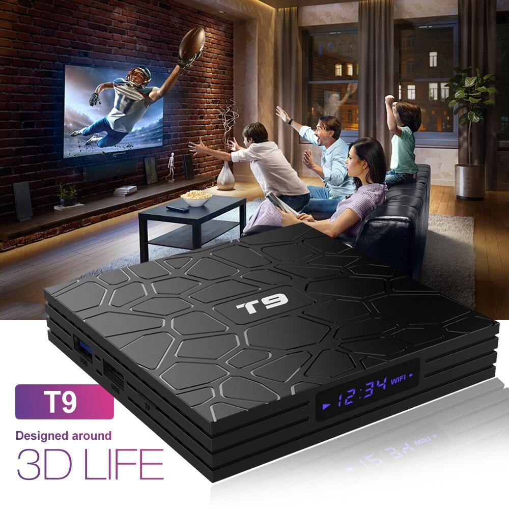 AKASO 4G/32G T9 Smart 4 K décodeur Android 8.1 TV Box RK3328 Quad Core USB 3.0 lecteur multimédia WIFI Bluetooth PK MXQ H96 Pro Plus