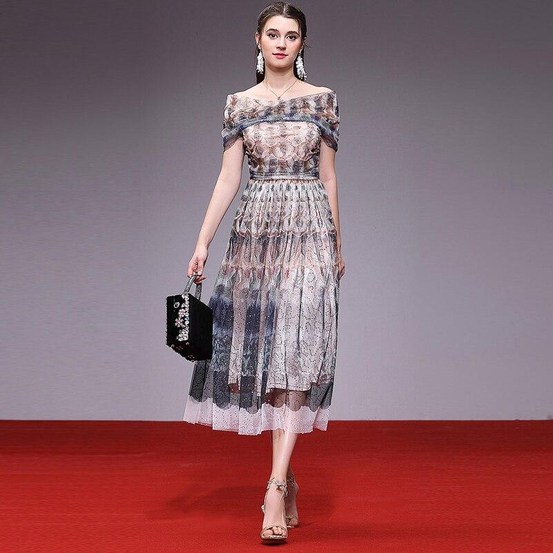 High quality designer fashion summer dress Women s Sleeveless Mesh Sequins Vintage Print Sexy Slash Neck