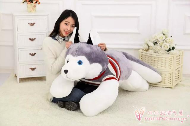 Rayures chandail conception enclin husky plus grand 165 cm gris husky chien en peluche oreiller de couchage, surpris cadeau de noël h907
