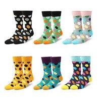 Harajuku Britse stijl gekleurde stippen schaatsen fashion designer merken van hoogwaardige katoen lange sokken vrouw funy6