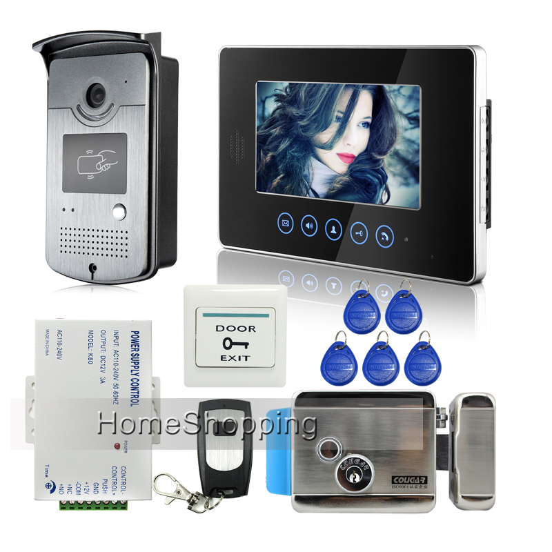 FREE SHIPPING Touch Monitor 7 inch Screen Video Intercom Door Phone Doorbell System RFID Door Camera + E-lock + Remote IN STOCK brand new wired 7 inch color video door phone intercom doorbell system 1 monitor 1 waterproof outdoor camera in stock free ship