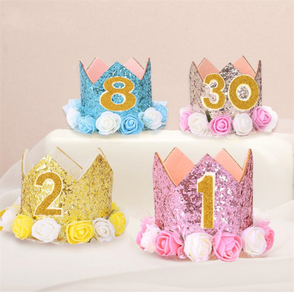 Cartoon Hat Baby Girl  Birthday Party Hat With Hairband Princess Queen Crown Lace Hair Band Elastic Head Wear Hat Cartoon Hat