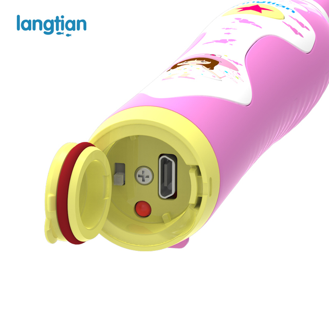 Langtian Child Electric Toothbrush Dental Electric Cleaning Brush Kids Ultrasonic Rechargeable Toothbrush