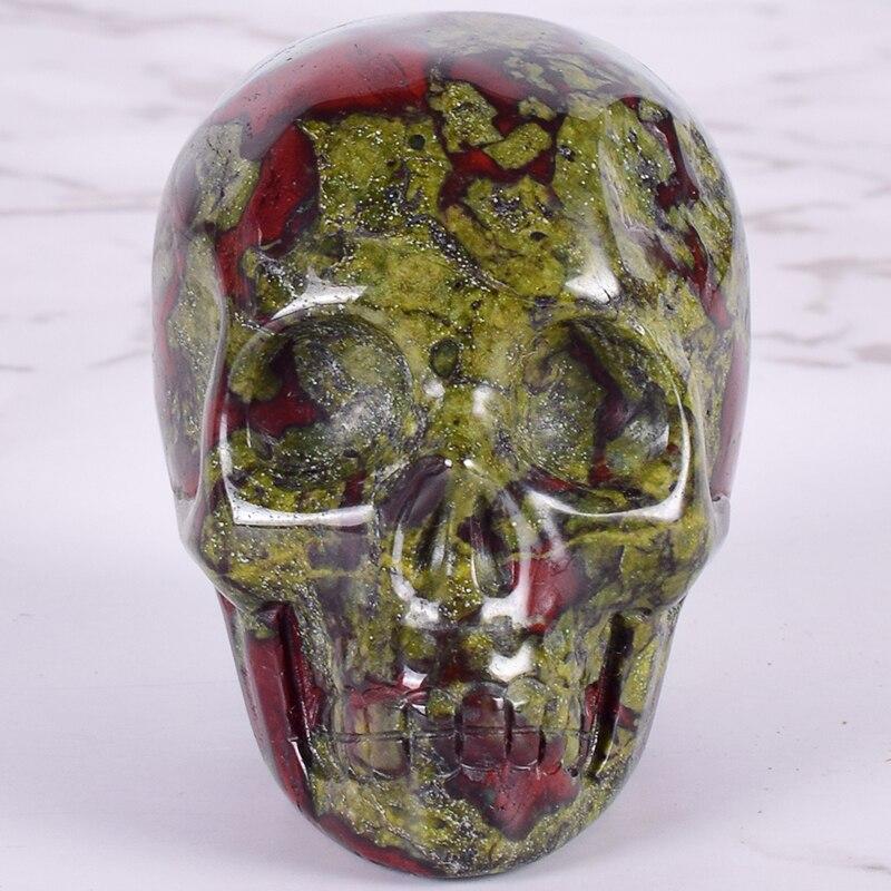 Dragón sangre piedra calavera estatua cristal Mineral cuarzo piedra calavera estatuilla tallada a mano hueso Feng Shui sanación colección 2 pulgadas