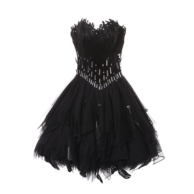 Chic Mini Homecoming Dresses Black Feathers Banquet Party Formal Dress Charming Evening Gown 2019 Robe De Mariee