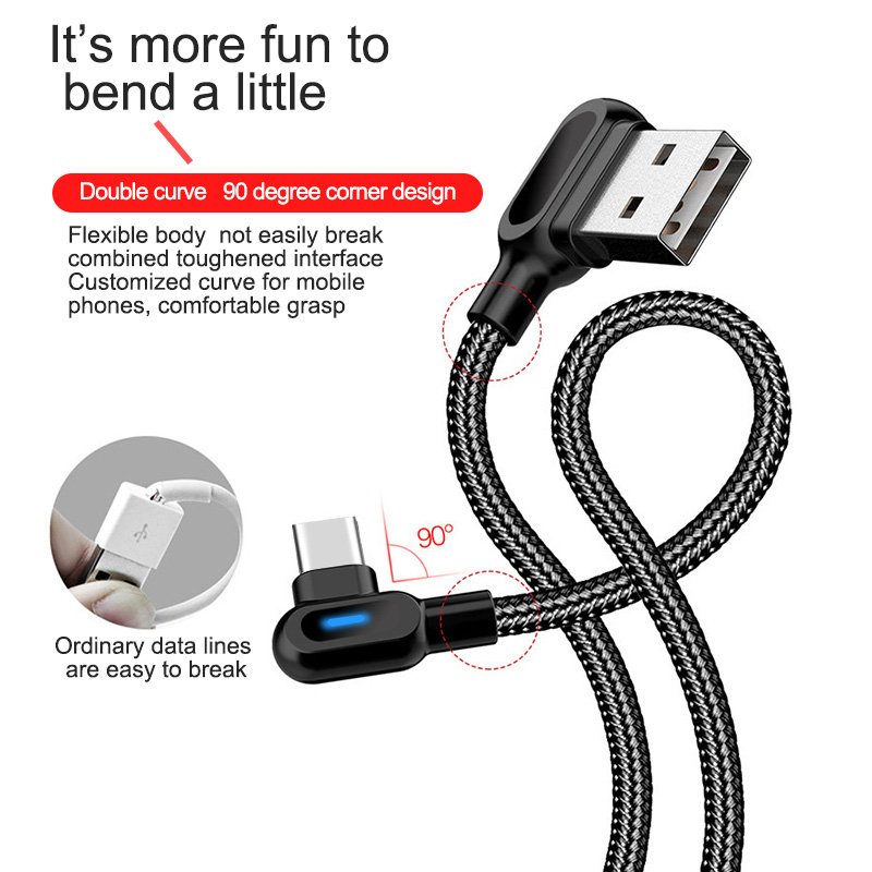 OLAF Micro USB Type C 1M 2M Fast Charging 90 Degree Cable For Samsung S8 S9 S10 Xiaomi Huawei Microusb USB-C Charger Cord Kabel 2