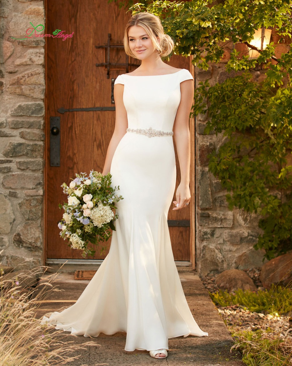 Dream angel vestido de de noiva sexy backless mermaid for Plus size trumpet wedding dress with sleeves