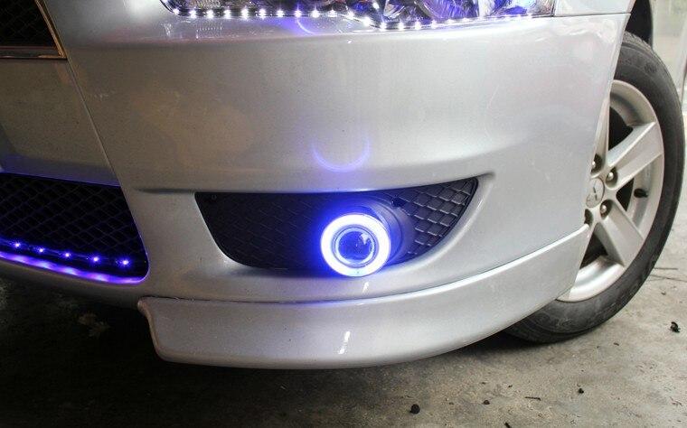 DRL фары дневного света глаза ангела, объектив проектора противотуманная фара с крышкой для Мицубиси Лансер ех, 2 шт