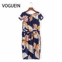 Voguein новые женские Винтаж кран печати Кепки рукав лук пояса мини-платье оптовая продажа