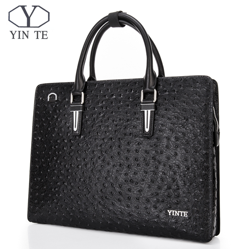 YINTE Leather Handbag 13 Laptop Briefcase Men's Business Crossbody Bag Messenger/Shoulder Bags For Men Totes Portfolio H8511-4A yinte leather men s briefcase black bag fashion business messenger totes laptop bag ostrich prints men s portfolio t8518 6