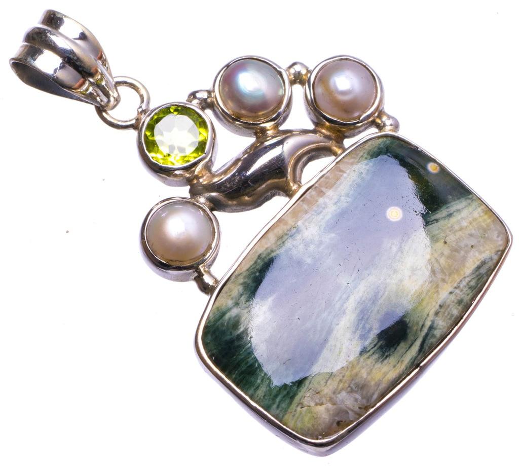 цена на Natural Ocean Jasper,River Pearl and Peridot Handmade Unique 925 Sterling Silver Pendant 1.5