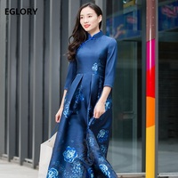 4XL Women Long Dress New Brand Chinese Style Vintage Dark Blue Jacquard Print Floral 3 4