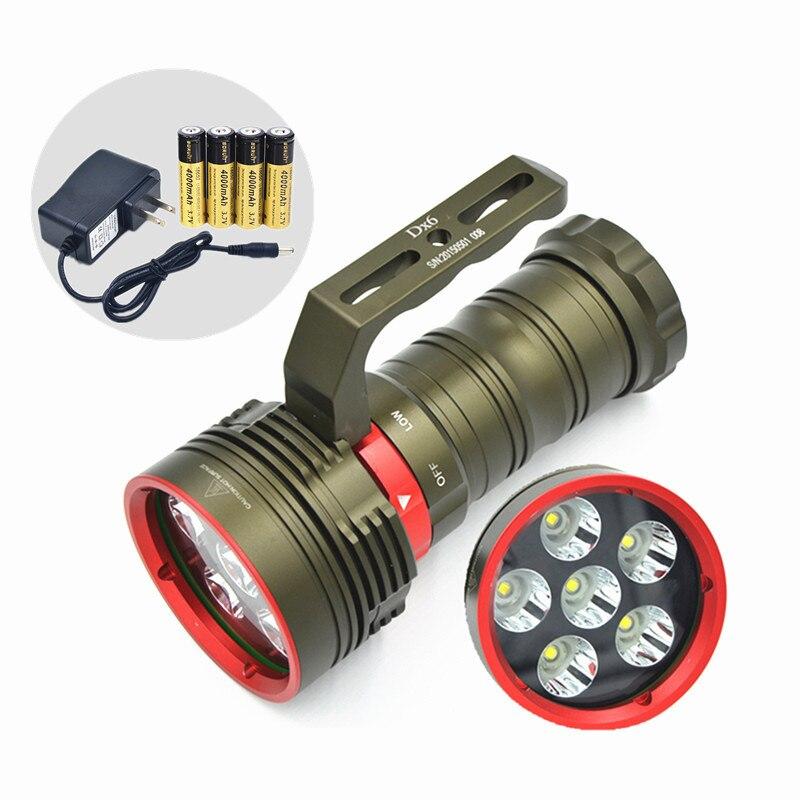 Nouveau lumineux 9000 Lumens sous marin 200 mètres plongée lampe de poche 6x XM L L2 lumière LED lampe torche de plongée 4x18650