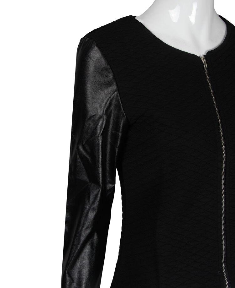 19 Women Basic Coats Jackets Spring Black Zipper Crop Pu Jacket Punk Style Bandage Women PU Leather Jacket Coat Crop Tops 8