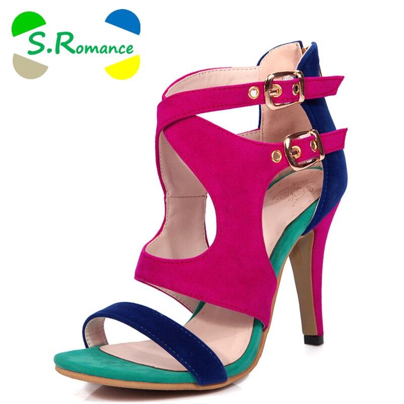 Ayakk.'ten Kadın Sandaletleri'de S. romantik Kadın Sandalet Artı Boyutu 34 43 Moda Zip Yüksek Topuk Yaz Kadın Pompa Ayakkabı Kadın Ofis Siyah Mavi kırmızı SS612'da  Grup 1