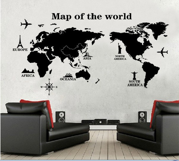 World map wall sticker maps vinyl stickers large decal poster the world map wall sticker maps vinyl stickers large decal poster the world one piece adhesive mural wallpaper diy office home decor in wall stickers from home gumiabroncs Image collections