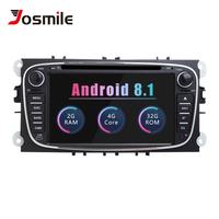Android 8.1 2 din AutoRadio Car DVD Player For Ford Focus 2 Ford Mondeo 4 FordC Max S Max Kuga Galaxy Transit Connect Navigation