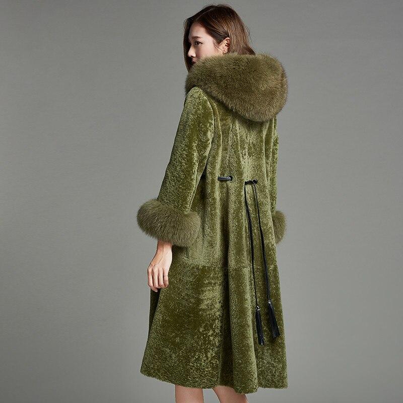 Double De Vêtements Laine Fourrure Veste face Nouveau Z942 Light Naturel Mujer Abrigo Renard Automne Manteau Vraie Green Femmes Européenne Hiver OqA0wFx7
