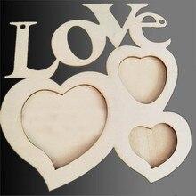 Animal de estimação adorável oco amor moldura de madeira diy picture frame art decor branco base sep930