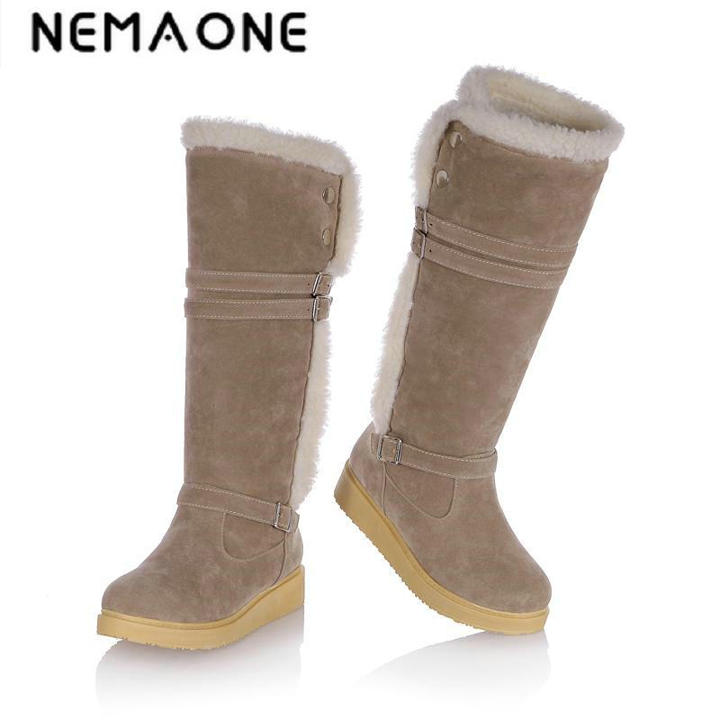 New Women Casual Flat Snow Boots Platform Winter Warm Knee High Women Boots Work Shoes Woman Large Size 34-43