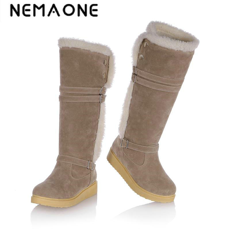 New women casual flat snow boots platform winter warm knee high women boots work shoes woman large size 34-43 цена