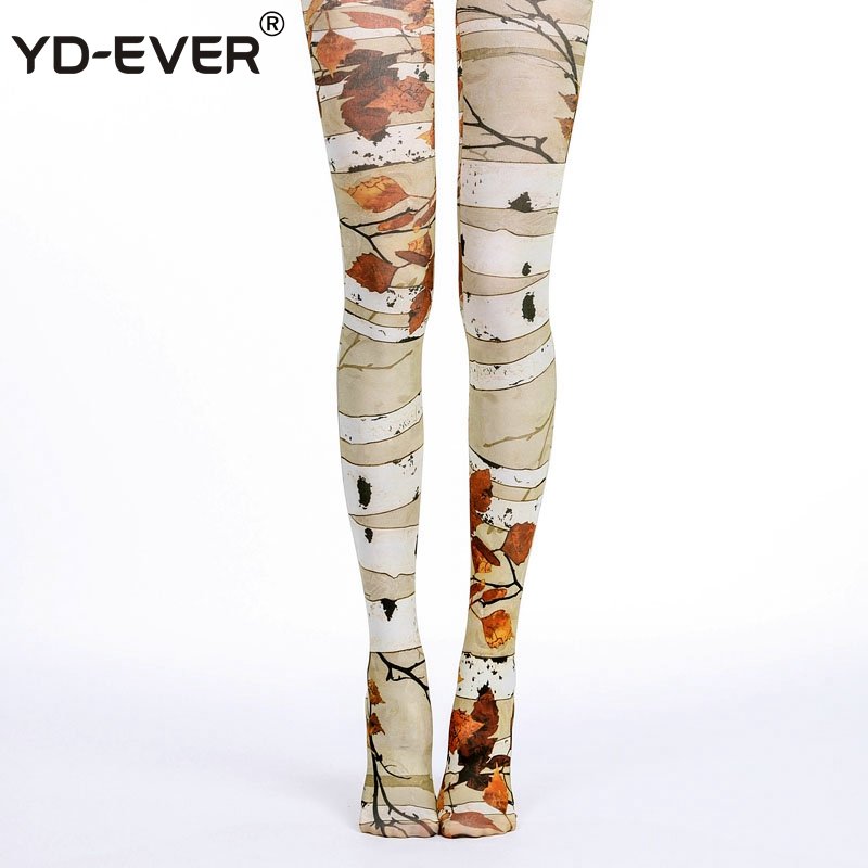 YD-EVER Print Women Tights Cotton Jacquard Pantyhose Brand Fashion Thin Spring Autumn Tattoo Colored Printed Hosiery 21
