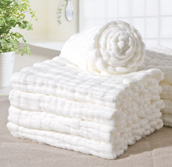 1 PC Baby Bath Towels 100% Cotton Gauze 30cm X 30cm Solid New Born Baby Towels Ultra Soft Strong Water Absorption Baby Care