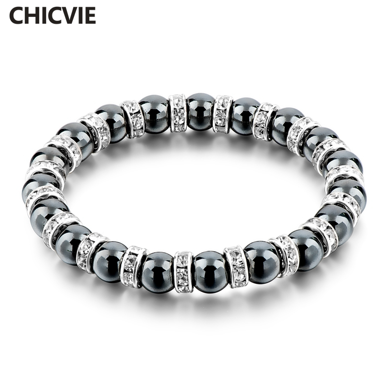 Chicvie Tibetan Silver Color Black Stone Strand Bracelet For Men Women Handmade Beaded With Stones Jewellery Sbr160115 In Bracelets From