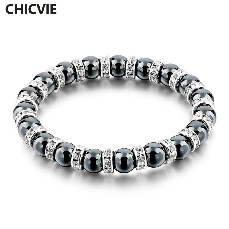 CHICVIE Tibetan Silver color Black Stone Strand Bracelet For