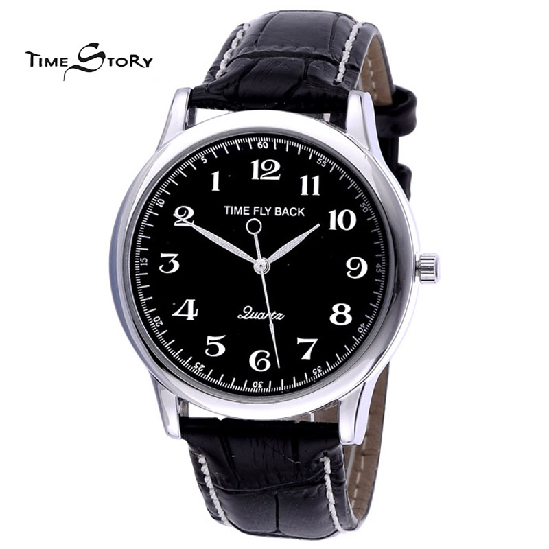New Fashion Anticlockwise Watches Time Fly Back Men Wristwatches Vintage Quartz Counterclockwise Watch Leather Strap