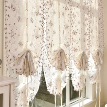 цены Butterfly Embroidery Ribbon Roman Curtain Shade Home Pastoral European Kitchen Tulle Curtain Balcony Voile Window Screening
