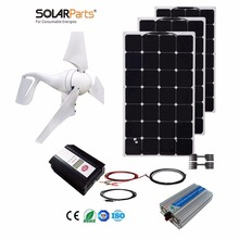 Boguang 1x 400W Wind Turbine+300W Solar Hybrid solar system DIY kit solar panel home house module mobile dc 12v/24v off grid tie