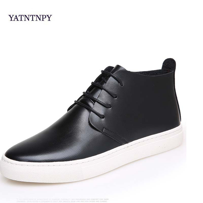 YATNTNPY New men casual winter shoes fashion genuine leather with fur Booties man comfortable flat Warm cotton shoes genuine leather men casual shoes wool fur warm winter shoes for men flat lace up casual shoes men s flat with shoes fashion