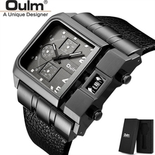 OULM Brand HP3364 Original Unique Design Square Men Wristwatch Wide Big Dial Casual Leather Strap Quartz Watch reloj hombre