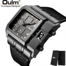 OULM العلامة التجارية HP3364 الأصلي تصميم فريد مربع الرجال ساعة اليد واسعة الطلب الكبير حزام من الجلد عادية ساعة كوارتز reloj hombre