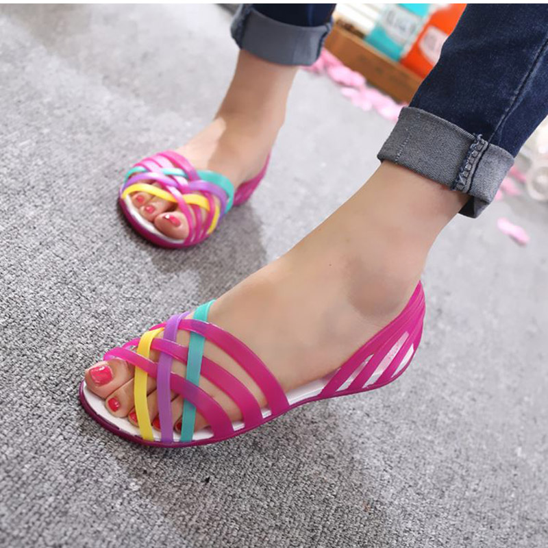 HTB1nG6ra.z.BuNjt bXq6AQmpXa6 MCCKLE Women Jelly Shoes Rainbow Summer Sandals Female Flat Shoes Ladies Slip On Woman Candy Color Peep Toe Women's Beach Shoes