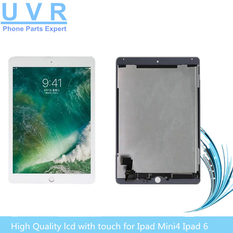 New High Quality touch screen with LCD for ipad 6 Air 2 display Tablet lcd Panel digitizer assembly A1566 A1567 10p lot a quality for apple iphone 6 lcd display with touch screen digitizer assembly black white lcd free ship oem